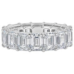 All GIA Certified Emerald Cut Diamond Eternity Wedding Band in Platinum