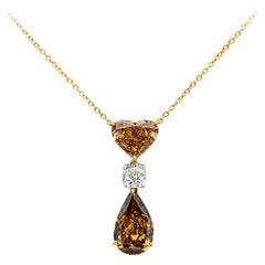All GIA Certified Fancy Color Diamond Drop Pendant Necklace