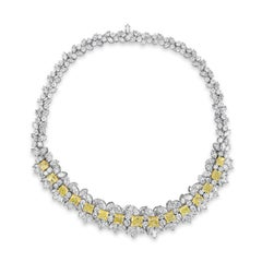 All GIA Certified Intense Yellow and White Diamond Necklace