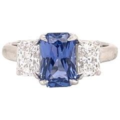 All GIA Certified No Heat Radiant Cut Diamond Ring 3.19 Carat E-F VS1 Platinum