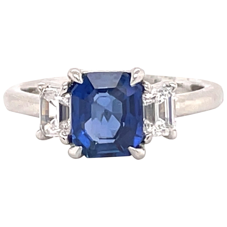 All GIA Certified No Heat Sapphire Diamond Ring 2.45 Carat D-E VS1 Platinum