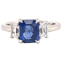 All GIA Certified No Heat Sapphire Diamond Ring 2.45 Carat D-E VS1 Platinum