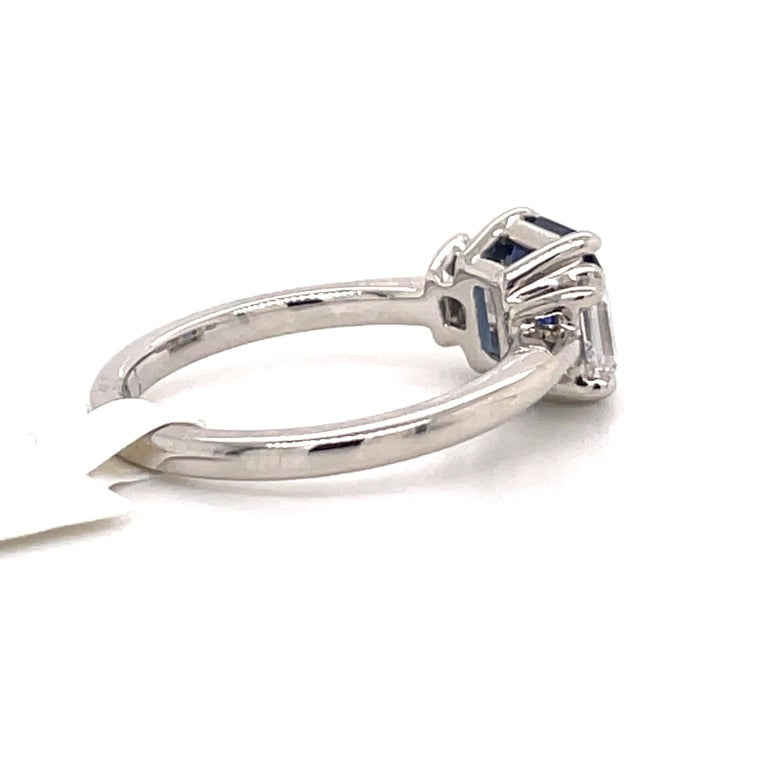 All GIA Certified No Heat Sapphire Diamond Ring 2.45 Carat D-E VS1 Platinum For Sale 4