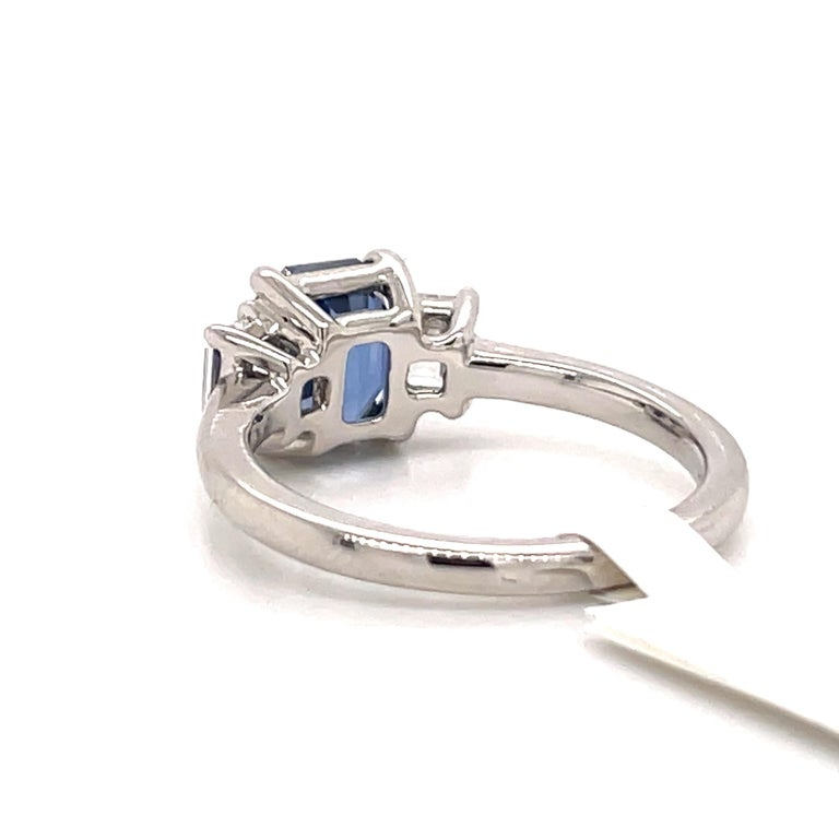All GIA Certified No Heat Sapphire Diamond Ring 2.45 Carat D-E VS1 Platinum For Sale 5