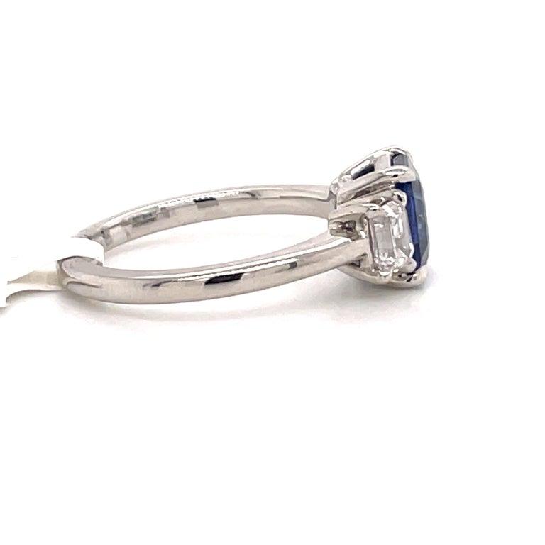 All GIA Certified No Heat Sapphire Diamond Ring 2.45 Carat D-E VS1 Platinum For Sale 6