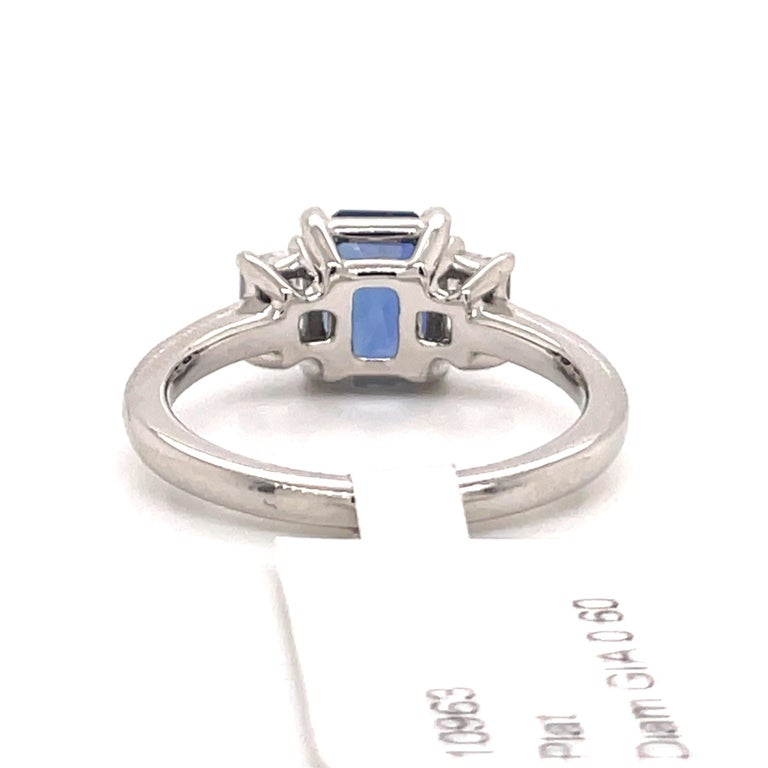 All GIA Certified No Heat Sapphire Diamond Ring 2.45 Carat D-E VS1 Platinum For Sale 7