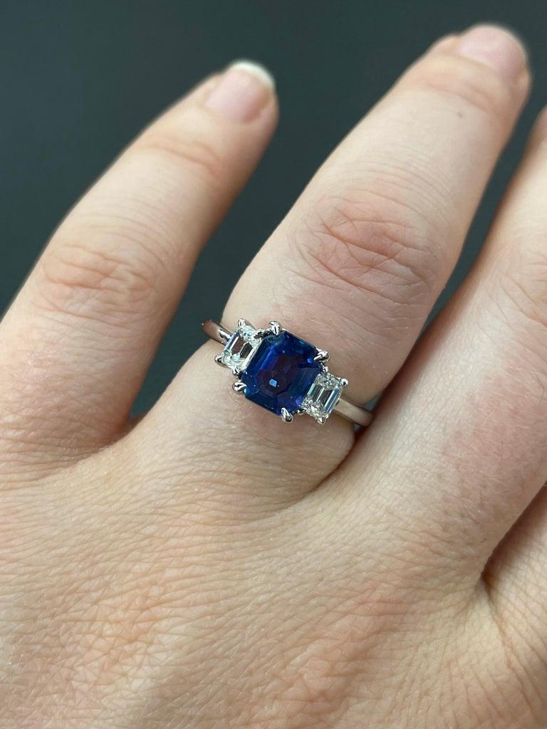 All GIA Certified No Heat Sapphire Diamond Ring 2.45 Carat D-E VS1 Platinum For Sale 9