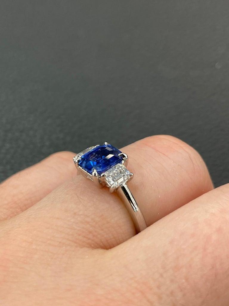All GIA Certified No Heat Sapphire Diamond Ring 2.45 Carat D-E VS1 Platinum For Sale 10