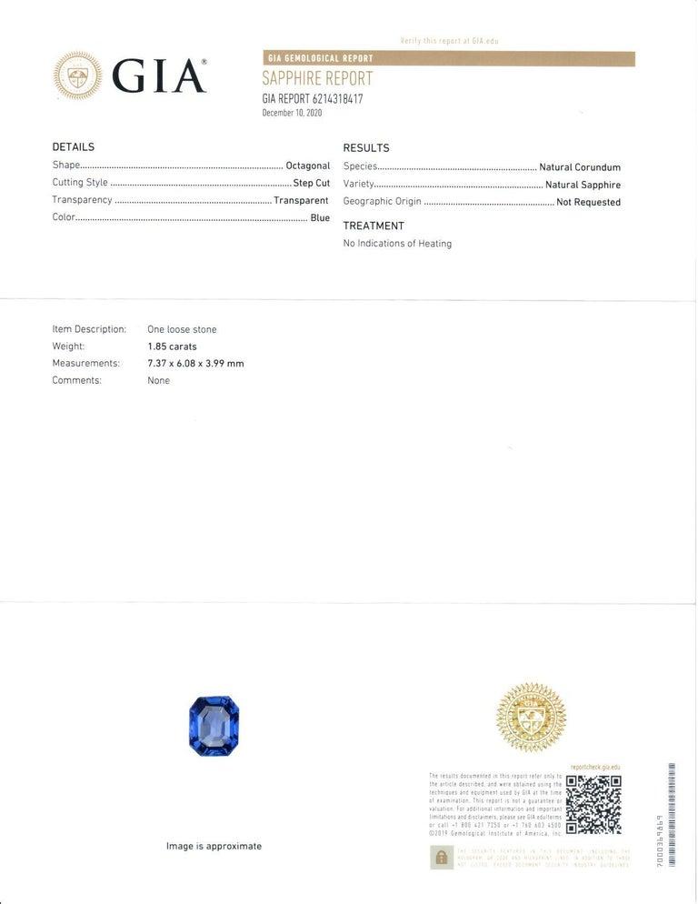 Contemporary All GIA Certified No Heat Sapphire Diamond Ring 2.45 Carat D-E VS1 Platinum For Sale