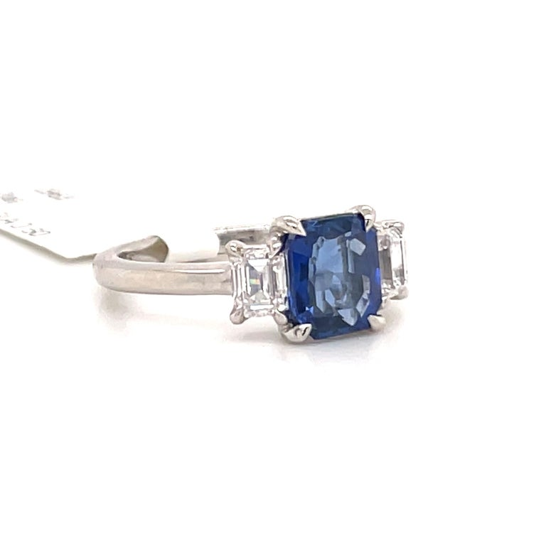 All GIA Certified No Heat Sapphire Diamond Ring 2.45 Carat D-E VS1 Platinum In New Condition For Sale In New York, NY