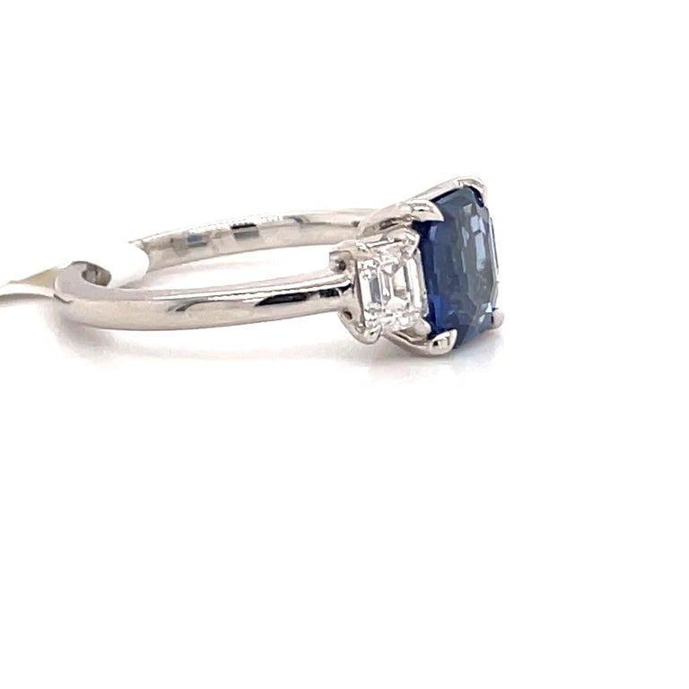 All GIA Certified No Heat Sapphire Diamond Ring 2.45 Carat D-E VS1 Platinum For Sale 1