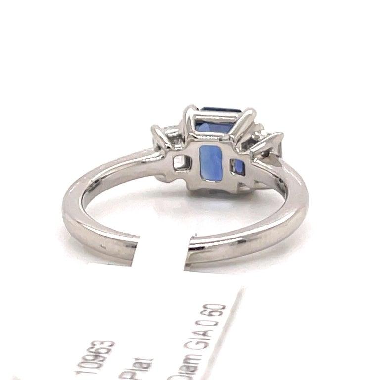 All GIA Certified No Heat Sapphire Diamond Ring 2.45 Carat D-E VS1 Platinum For Sale 2