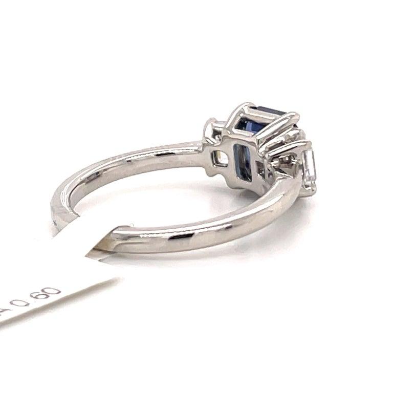 All GIA Certified No Heat Sapphire Diamond Ring 2.45 Carat D-E VS1 Platinum For Sale 3