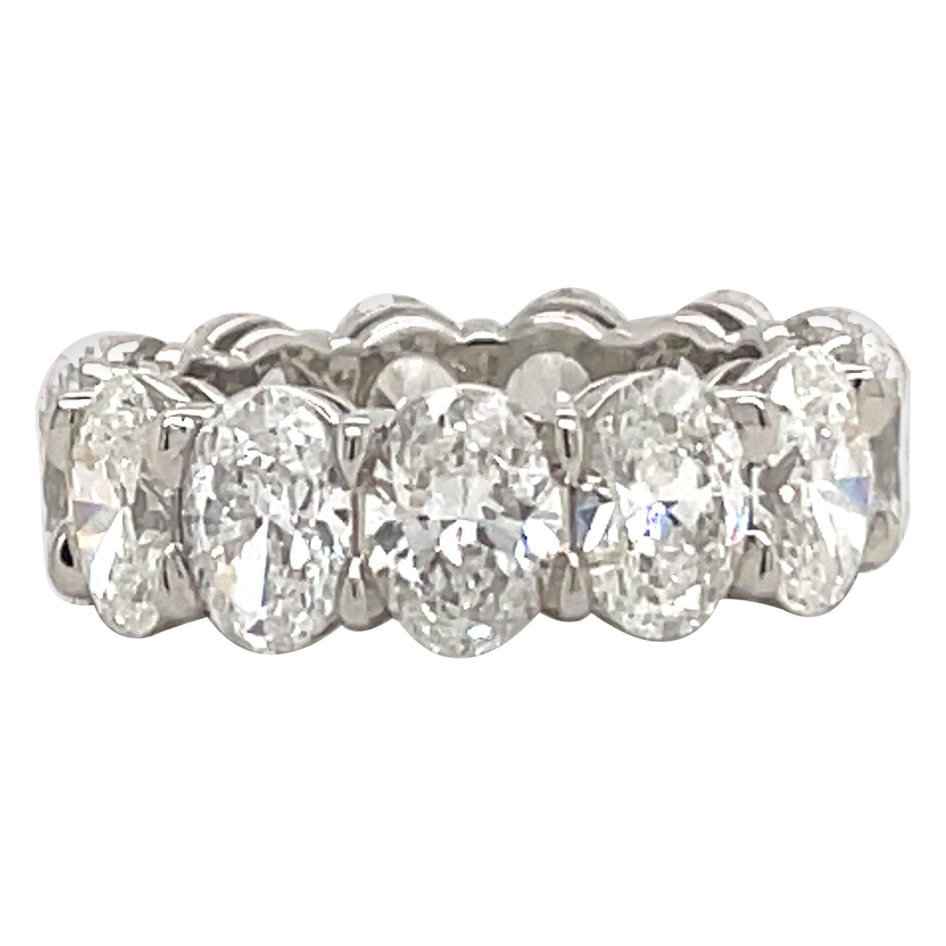 ALL GIA Certified Oval Cut Diamond Wedding Band 9.11 Carat D-F VVS-VS Platinum