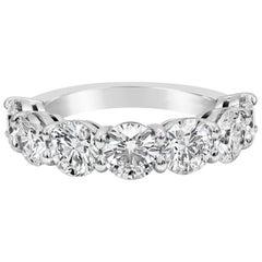 All GIA Certified Seven-Stone Round Diamond Wedding Band