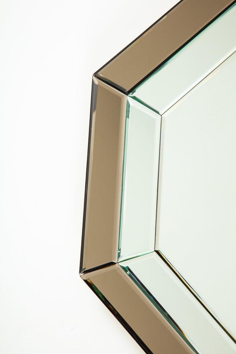 Mid-Century Modern All-Glass Italian Octagonal Mirror For Sale