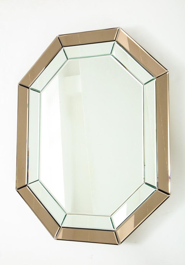 All-Glass Italian Octagonal Mirror For Sale 3