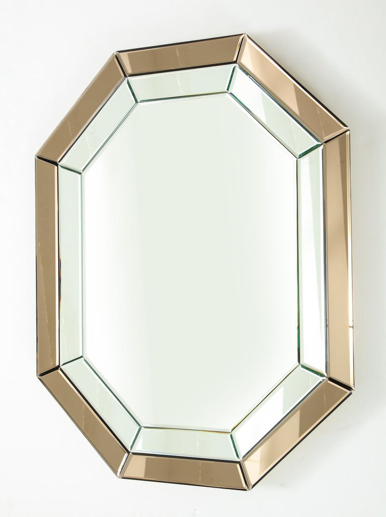 All-Glass Italian Octagonal Mirror For Sale 4