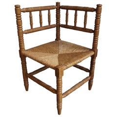 Handcrafted Antique French Provincial Corner Chair with Handwoven Rush Seat
