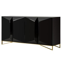 All In Black Mirrored Design Sideboard