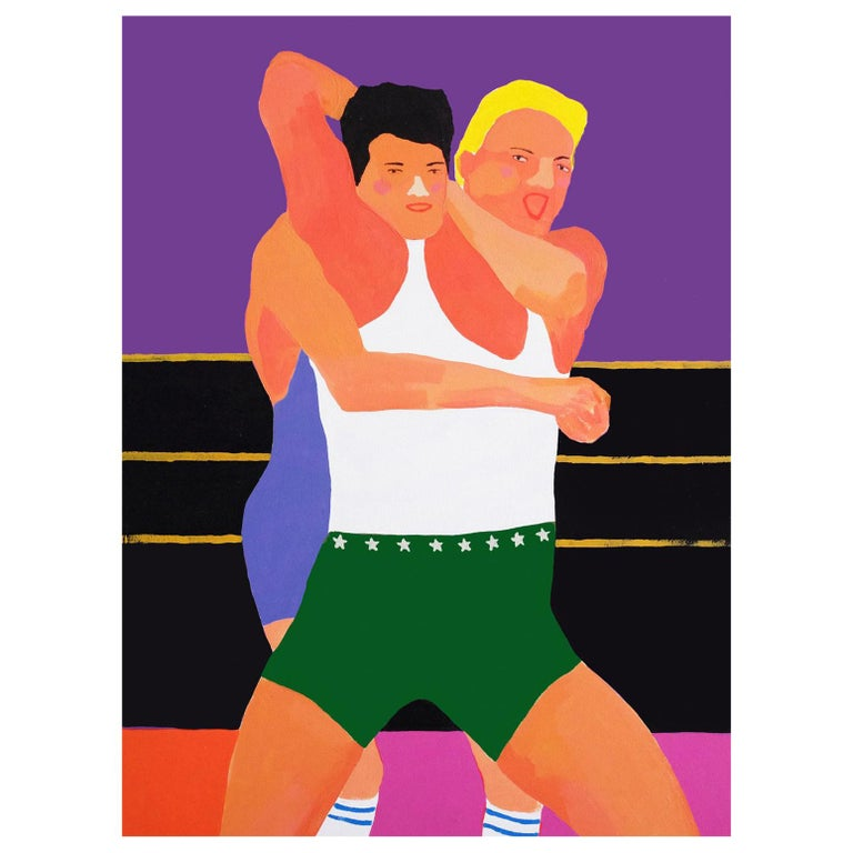 'All Mouth and No Trousers' Portrait Painting by Alan Fears Pop Art Wrestling For Sale