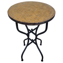 All Mustard Moroccan Mosaic Side Table, Choice Of Table Height