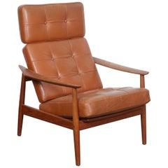 All Original Arne Vodder Leather Lounge Chair with Teak Frame, Denmark