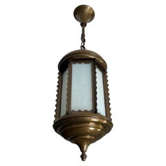 All Original Arts and Crafts Lantern / Pendant Light with Opalescent Blue Glass