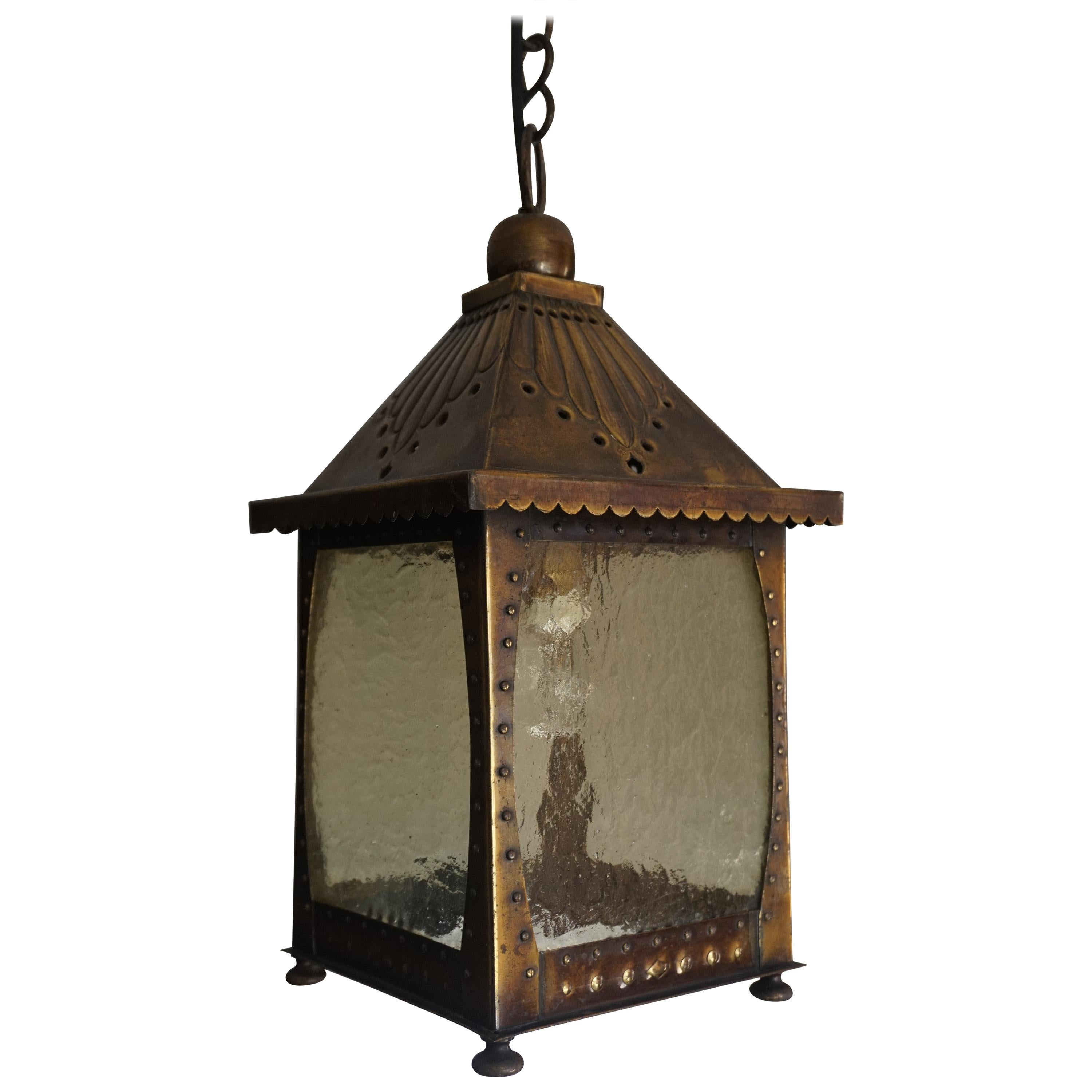 All Original Arts and Crafts Lantern Shape Pendant with Cathedral Glass & Rivets