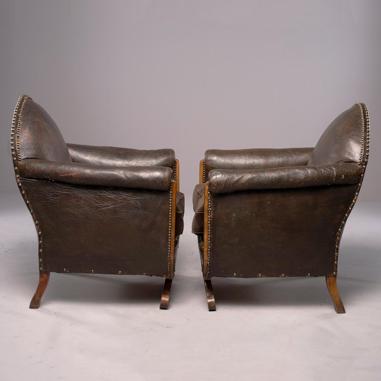 All Original French Art Deco Leather Club Chairs with Velvet Cushions 16
