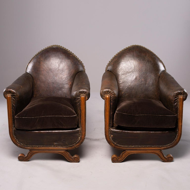 All Original French Art Deco Leather Club Chairs with Velvet Cushions 3