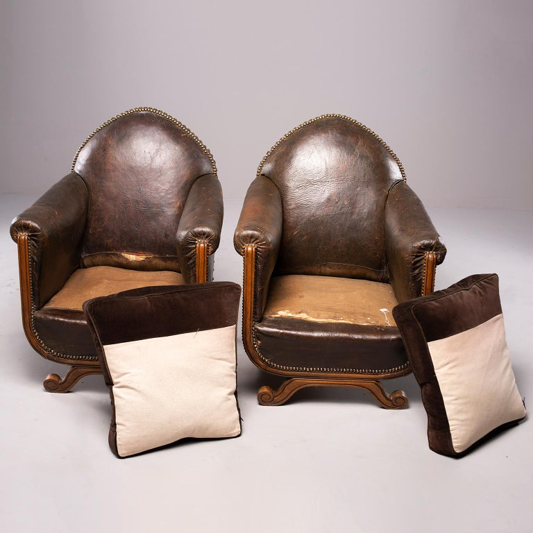 All Original French Art Deco Leather Club Chairs with Velvet Cushions 4