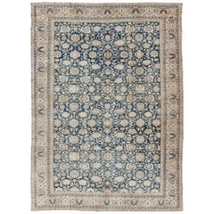All-Over Blue Floral Persian Hamadan Rug in Navy Blue and Earthy Tones