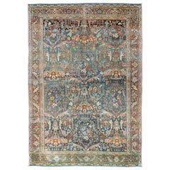 All-Over Design Antique Persian Tabriz Rug with Flowing Florals