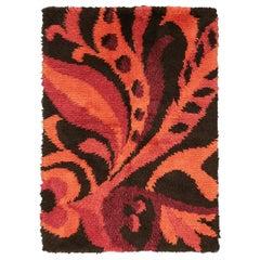 All-Over Field Vintage Dark-Brown & Orange Swedish Wool Rya Rug, ca. 1950
