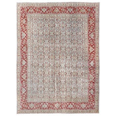 All-Over Floral Design Antique Persian Tabriz Rug in Shades of Gray and Red