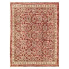 All-Over Khotan Design Rug in Light Gray and Raspberry Background