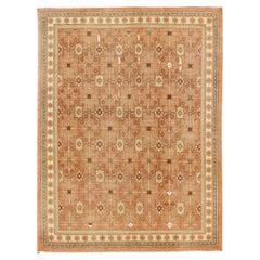 All-Over Khotan Design Rug in Light Tangerine Background & Gray, Brown, Cream
