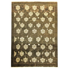 All Over Turkish Area Rug Traditional Carpet Oriental Brown Wool Rug
