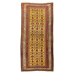 All-Over Yellow Field Antique Caucasian Kuba Wool Rug, Late 19th Century