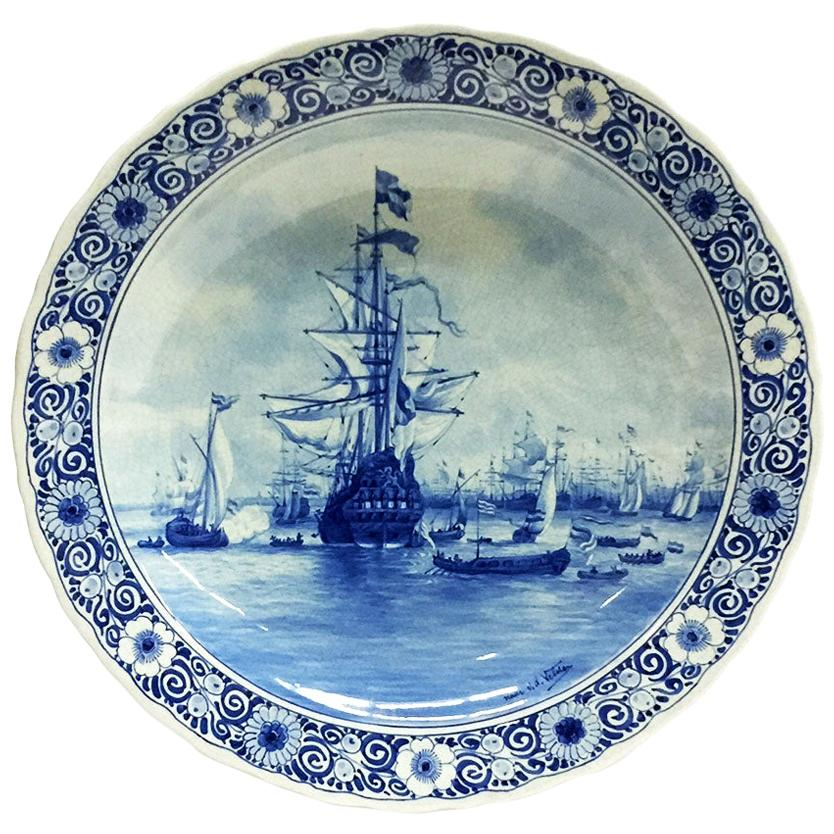Wall Plate by Delft Porceleyne Fles, After a Painting by Van de Velde, 1898