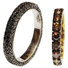 All Round Black and Brown Champagne Diamond Band 18 Karat Gold Ring