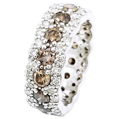 All Round White and Brown Diamond Band 18 Karat White Gold Ring
