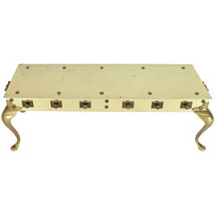 All Solid Brass Studded Rectangular Table with Carry Handles