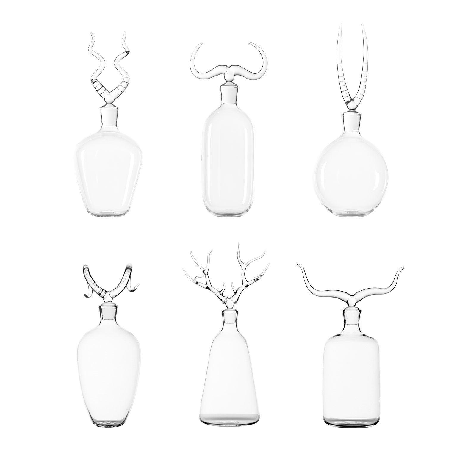'All Trophy Bottle Set' Hand Blown Glass Bottles by Simone Crestani
