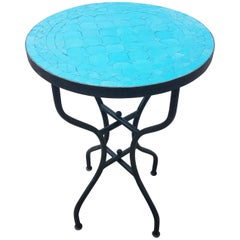 All Turquoise Moroccan Mosaic Table, CR4