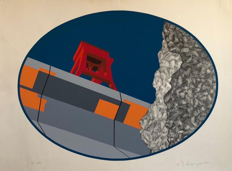 Pop Art Abstract American Hard Edged Landscape with Bridge - Print by Allan D'Arcangelo