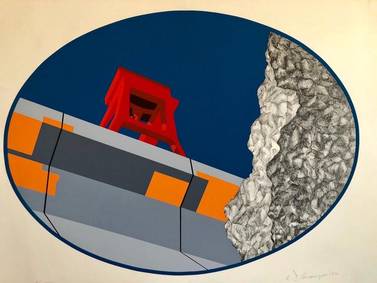 Allan D'Arcangelo Abstract Print - Pop Art Abstract American Hard Edged Landscape with Bridge