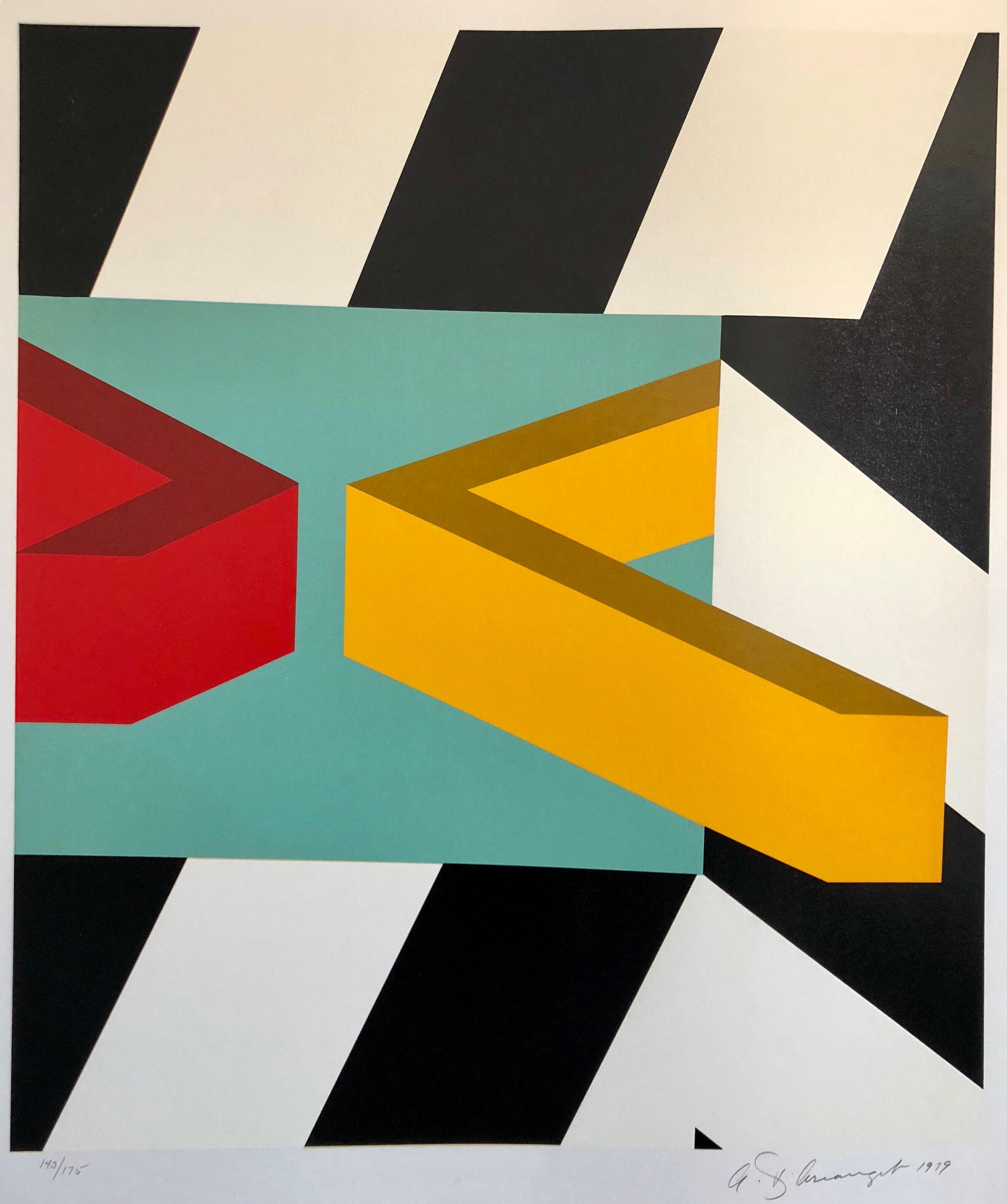 Pop Art Abstract Road Sign American Hard Edged Silkscreen Screenprint