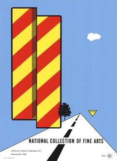 1968 After Allan D'Arcangelo 'Yield' Pop Art Blue,Red,Yellow USA Serigraph